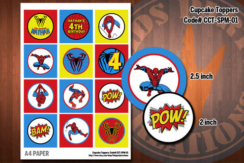 Spiderman Printable Cupcake Toppers by Kids Party Kreations