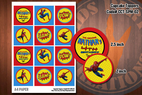 SALE 30% Off Spiderman Printable Cupcake Toppers by Kids Party Kreations (Set of 12)