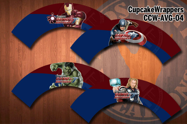 AVENGERS Cupcake Wrapper - Printable & Personalized for Avengers Birthday Party (SET of 4)