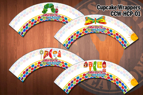 HUNGRY CATERPILLAR Cupcake Wrappers - Personalized and printable for Hungry Caterpillar birthday party