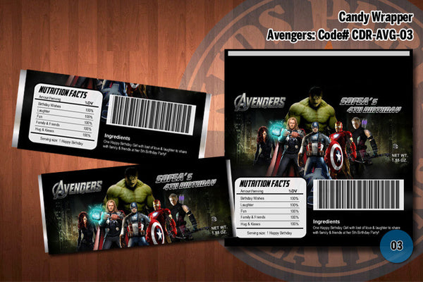 Personalized AVENGERS Printable Candy Bar Wrappers for the Avengers Birthday Party D#3