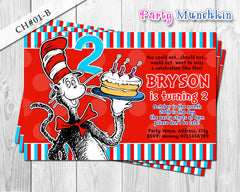 Cat in the Hat DIGITAL invitation - DIY for Cat in the Hat Birthday (C)