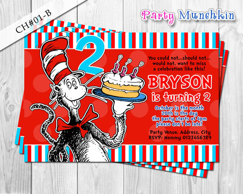 Cat in the Hat DIGITAL invitation - DIY for Cat in the Hat Birthday (B)