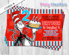 Cat in the Hat DIGITAL invitation - DIY for Cat in the Hat Birthday (A)