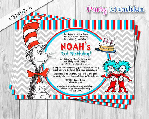 Cat in the Hat Printable invite - Chevron Invitation for Cat in the Hat inspired Birthday - DIY