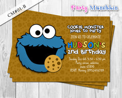COOKIE MONSTER invitation, Sesame Street invitation, Cookie Monster Sesame Street invite for Sesame Street birthday party