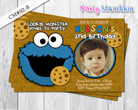COOKIE MONSTER photo invitation, Sesame Street invitation, Cookie Monster Sesame Street photo invite for Sesame Street birthday party