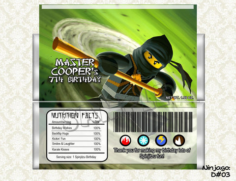 Ninjago - Candy Bar Wrapper (Cole)