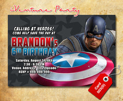Captain America birthday Invitation, Captain America printable invite