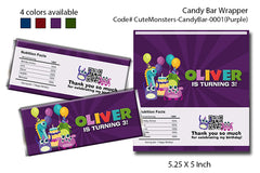 Candy bar wrapper for Monsters birthday theme party - Choose a color