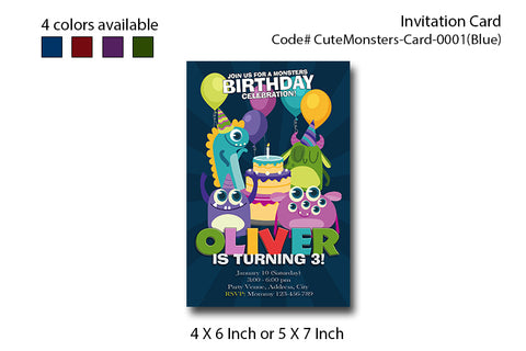 MONSTERS party invitation, Monsters photo invite, Monster birthday party - Digital Printable 4x6 or 5x7