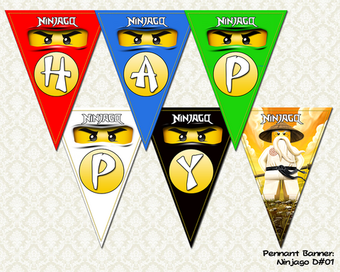 Ninjago DIGITAL Pennant Banner Flags (Non-Personalized)