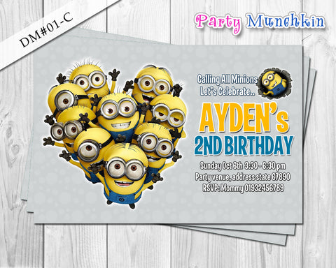 Minion DIGITAL invitation for Minions inspired birthday - DIY (Grey)