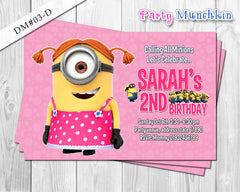 Minion Girl DIGITAL invitation for Minions inspired Birthday - DIY Printable