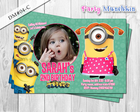 Minion Girl Photo Invitation for Minions inspired Birthday - DIY Printable