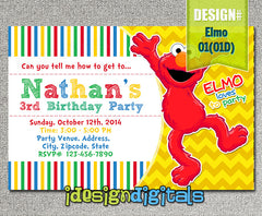 Elmo Birthday Invitations- Elmo Birthday Party - chevron sesame street invite (6x4 or 7x5)