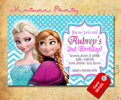 DIY Frozen birthday Invitation, Elsa and Anna printable invite