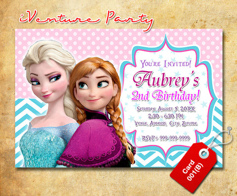 Frozen birthday Invitations, Elsa and Anna printable invite