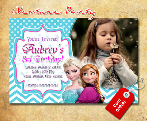 Chevron Frozen birthday Invitation, Elsa and Anna printable invite