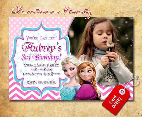 Chevron Frozen birthday photo Invitation, Elsa and Anna printable invite