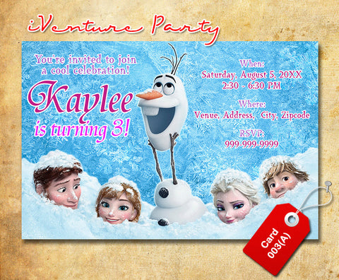 DIY Frozen birthday photo Invitation, Frozen printable invitation