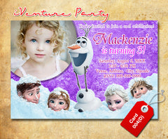Digital Frozen birthday photo Invitation, Frozen printable invitation