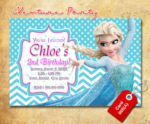 Digital Frozen birthday photo Invitations, Frozen printable invitation