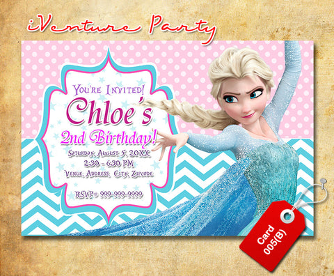 Chevron Frozen birthday photo Invitations, Frozen digital invitation