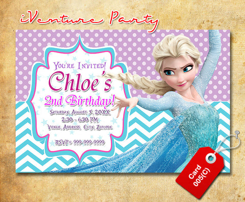 Printable Frozen birthday photo Invitations, Frozen digital invitation