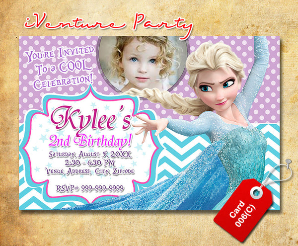DIY Frozen birthday photo Invitations, Frozen digital invitation
