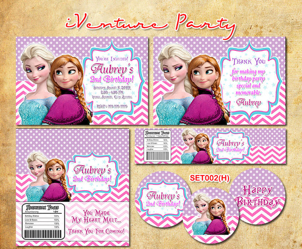 Printable Frozen birthday set, Elsa and Anna party invitation, candy wrapper, water bottle label