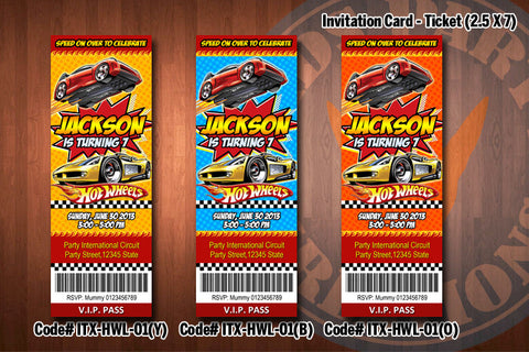 HOT WHEELS ticket Invitation, Hot Wheels invitation, HotWheels birthday invite (CHOOSE from 3 designs)