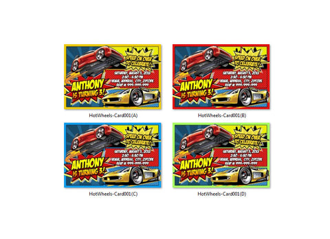 Digital Hot Wheels birthday Invitation, Hot Wheels printable invite