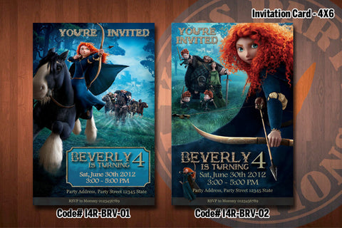 BRAVE Birthday Party Invitation 4x6 - Princess Merida