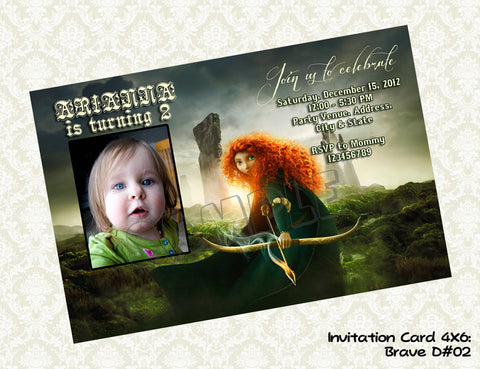 BRAVE Photo Invitation - Merida - Princess - Brave Birthday party printable (4x6) Design2