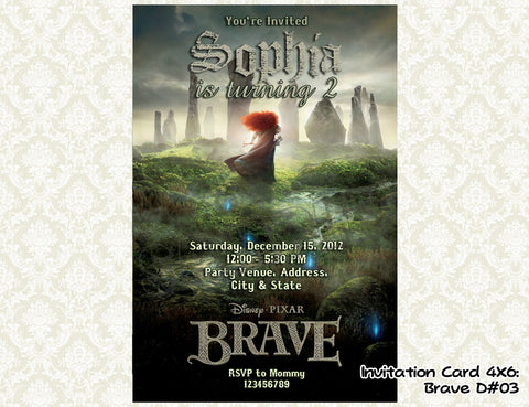 BRAVE Invitation - Merida - Princess - Brave Birthday party printable (4x6) Design3