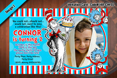 Cat In The Hat Invitation Card D2 (Red)