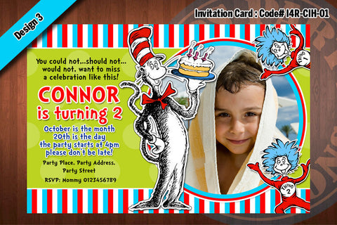 Cat In The Hat Invitation Card D4 (Yellow)