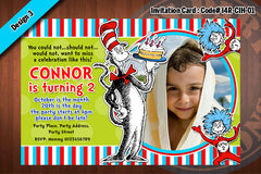 Cat In The Hat Invitation Card D1 (Blue)