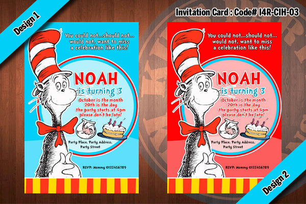 Cat In The Hat Invitation Card #1