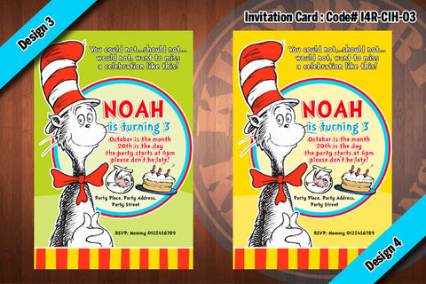 Cat In The Hat Invitation Card #2