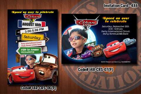 CARS Birthday Invitation with Photo - Printable and Personalized for Cars birthday party