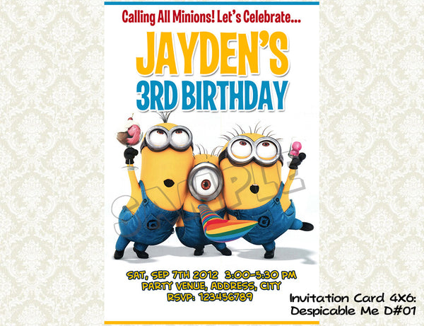 MINIONS Despicable Me Invitation - Birthday party digital file - Minions despicable me  (4x6) D#1