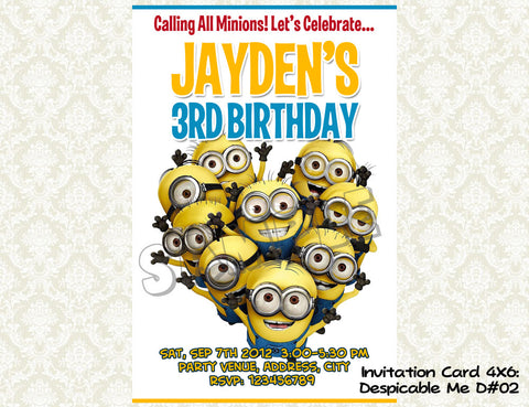 MINIONS Despicable Me Invitation - Birthday party digital file - Minions despicable me  (4x6) D#2