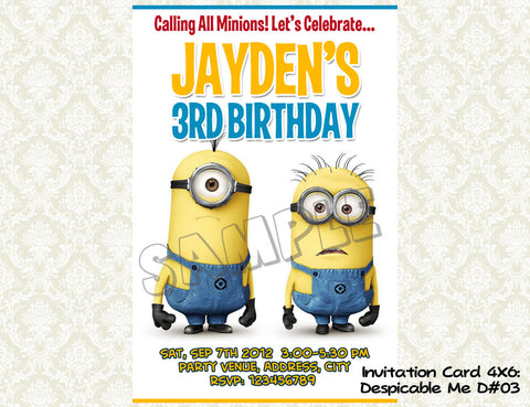 MINIONS Despicable Me Invitation - Birthday party digital file - Minions despicable me  (4x6) D#3