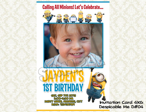 MINIONS Despicable Me Invitation - Birthday party digital file - Minions despicable me  (4X6) D#4