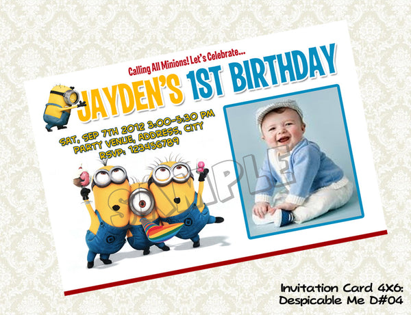 MINIONS Despicable Me Invitation - Birthday party digital file - Minions despicable me  (4X6) D#5