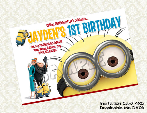 MINIONS Despicable Me Invitation - Birthday party digital file - Minions despicable me  (4X6) D#6