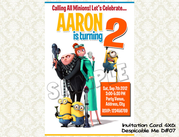 MINIONS Despicable Me Invitation - Birthday party digital file - Minions despicable me  (4X6) D#7