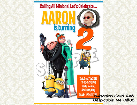 MINIONS Despicable Me Invitation - Birthday party digital file - Minions despicable me  (4X6) D#8